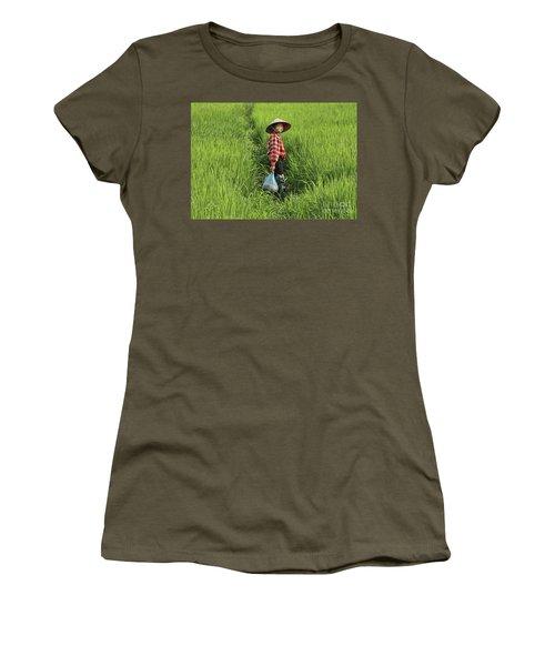 Woman Smile Rice Fields Women's T-Shirt (Junior Cut) by Chuck Kuhn