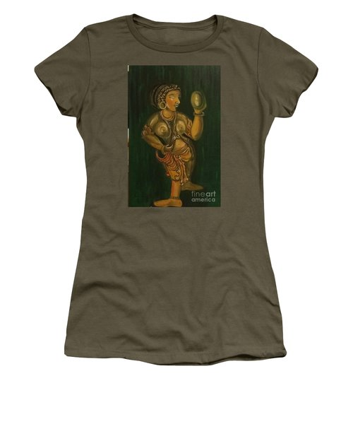 Women's T-Shirt (Junior Cut) featuring the painting Woman With A Mirror Sculpture by Brindha Naveen