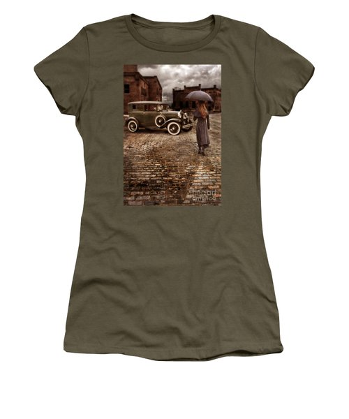 Woman With Umbrella By Vintage Car Women's T-Shirt (Junior Cut) by Jill Battaglia