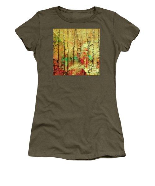 Women's T-Shirt (Junior Cut) featuring the digital art Wood Abstract by Deborah Benoit