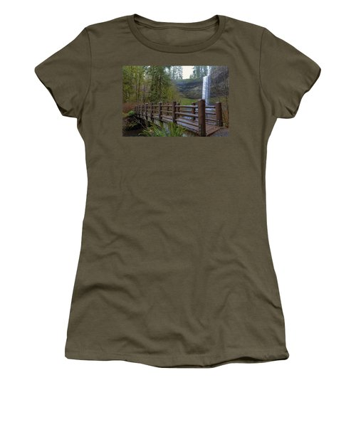 Wood Bridge At Silver Falls State Park Women's T-Shirt (Athletic Fit)