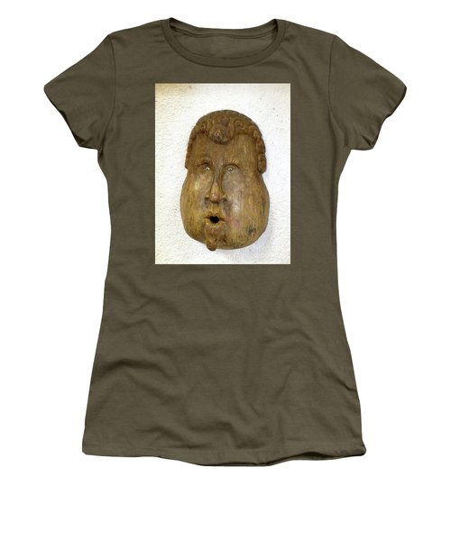 Women's T-Shirt (Athletic Fit) featuring the photograph Wood Carved Face by Francesca Mackenney