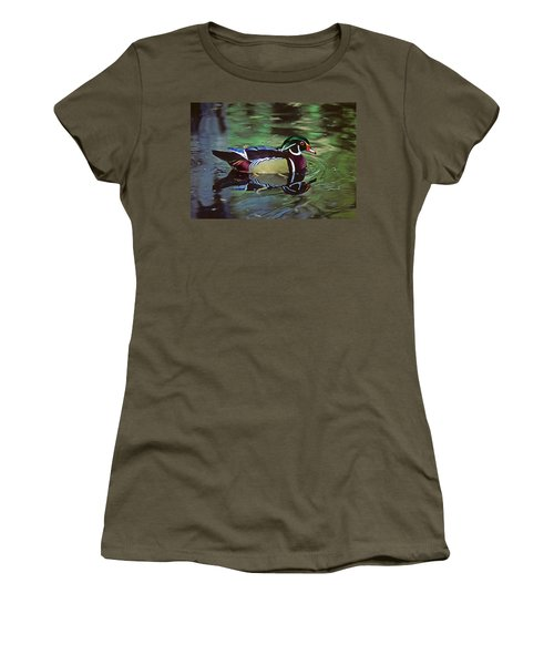 Women's T-Shirt (Junior Cut) featuring the photograph Wood Duck by Marie Hicks