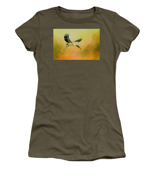 Women's T-Shirt (Junior Cut) featuring the photograph Wood Stork Encounter by Marvin Spates