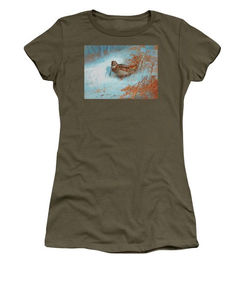 A Woodcock In The Snow Women's T-Shirt
