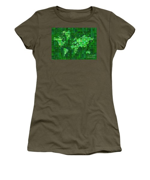 World Map Glasa Green Women's T-Shirt (Athletic Fit)