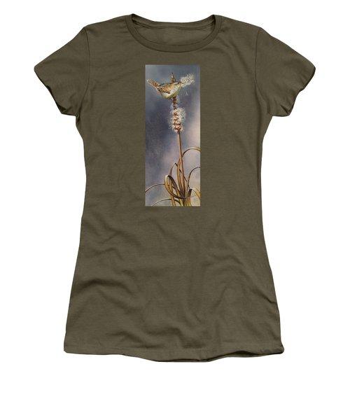 Wren And Cattails Women's T-Shirt