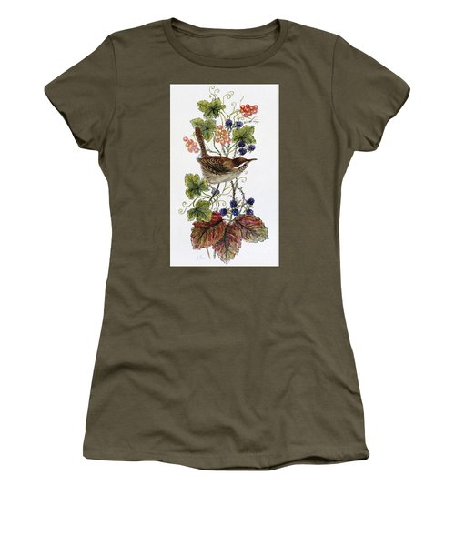 Wren On A Spray Of Berries Women's T-Shirt (Athletic Fit)