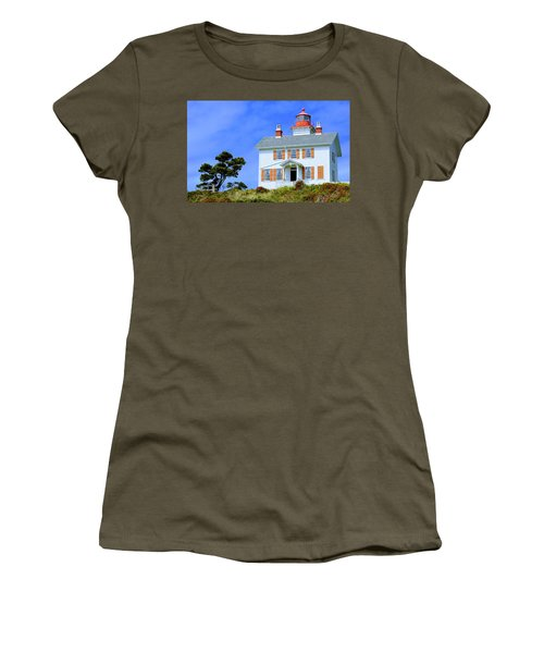 Women's T-Shirt (Athletic Fit) featuring the photograph Yaquina Bay Lighthouse by AJ Schibig