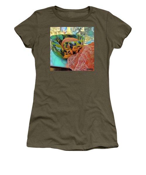 Yarn Bowl Women's T-Shirt (Junior Cut) by Ginny Schmidt