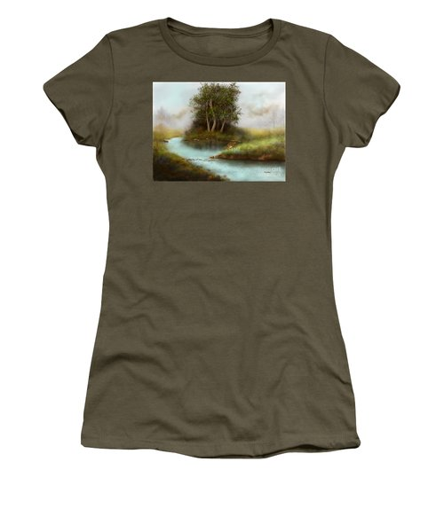 Women's T-Shirt (Junior Cut) featuring the painting Yearling by Sena Wilson