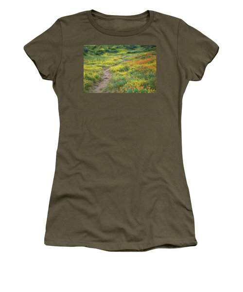 Women's T-Shirt (Junior Cut) featuring the photograph Yellow And Orange Wildflowers Along Trail Near Diamond Lake by Jetson Nguyen