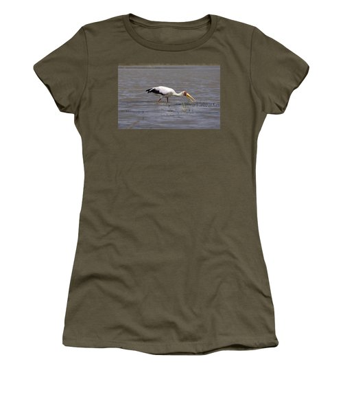 Yellow Billed Stork Wading In The Shallows Women's T-Shirt (Junior Cut) by Aidan Moran