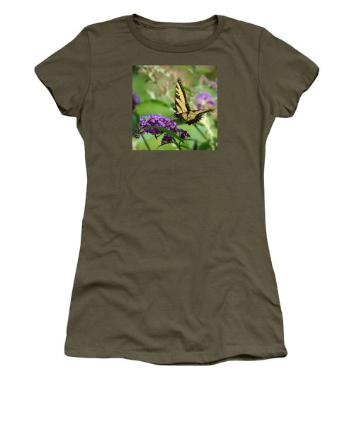 Yellow Butterfly On Purple Women's T-Shirt (Athletic Fit)