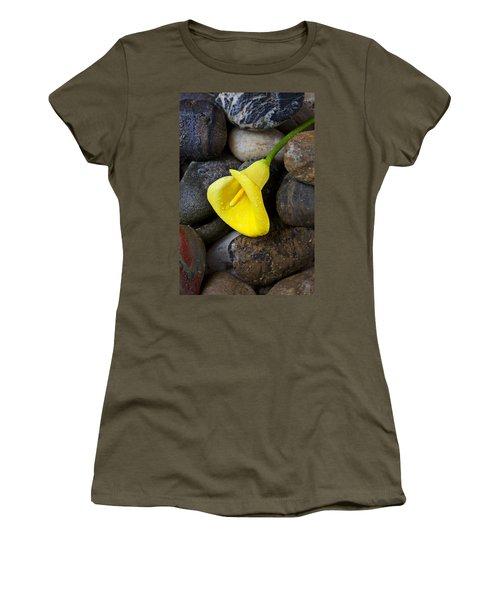 Yellow Calla Lily On Rocks Women's T-Shirt