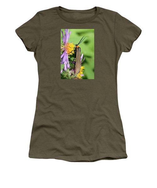 Women's T-Shirt (Junior Cut) featuring the photograph Yellow-collared Scape Moth by Doris Potter