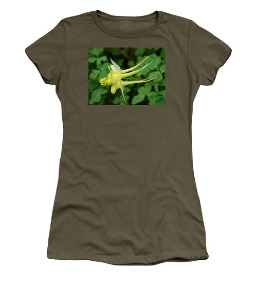 Women's T-Shirt (Athletic Fit) featuring the photograph Yellow Columbine Profile by Jean Noren
