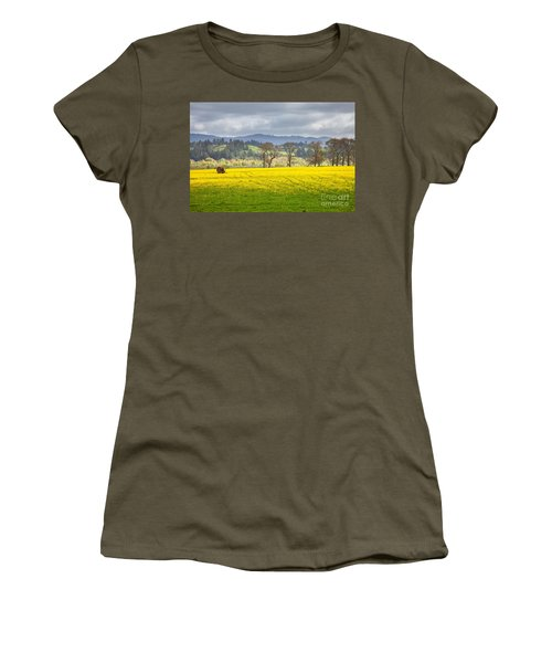 Yellow Fields Along The Eel River Women's T-Shirt (Athletic Fit)
