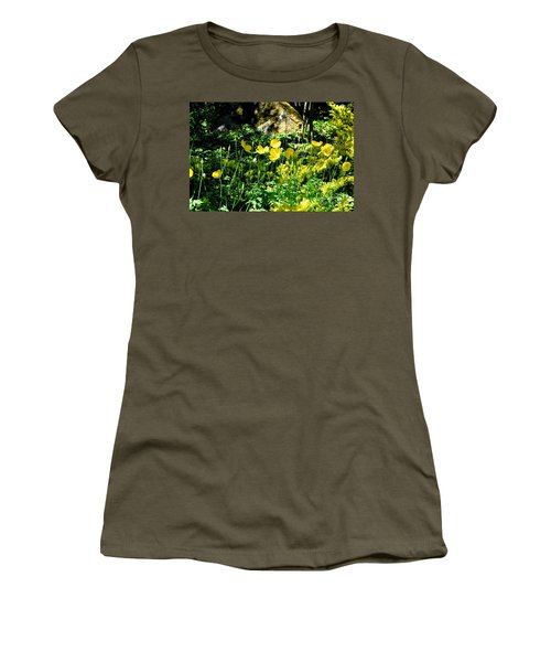 Women's T-Shirt (Junior Cut) featuring the photograph Yellow Flowers Bathing In The Sun by Tanya Searcy