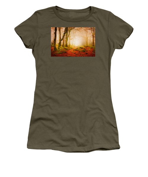 Yellow Forest Mist Women's T-Shirt (Athletic Fit)