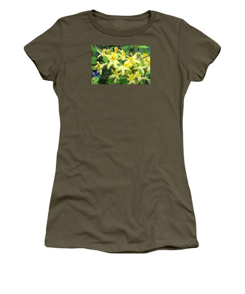 Yellow Rhododendron Women's T-Shirt (Junior Cut) by Carla Parris