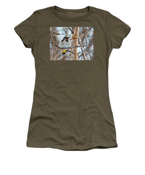 Yellow-shafted Northern Flicker Staying Warm Women's T-Shirt (Athletic Fit)