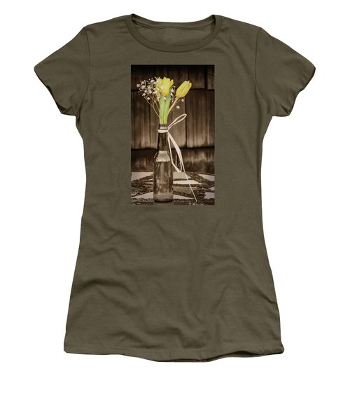 Yellow Tulips In Glass Bottle Sepia Women's T-Shirt (Junior Cut) by Terry DeLuco