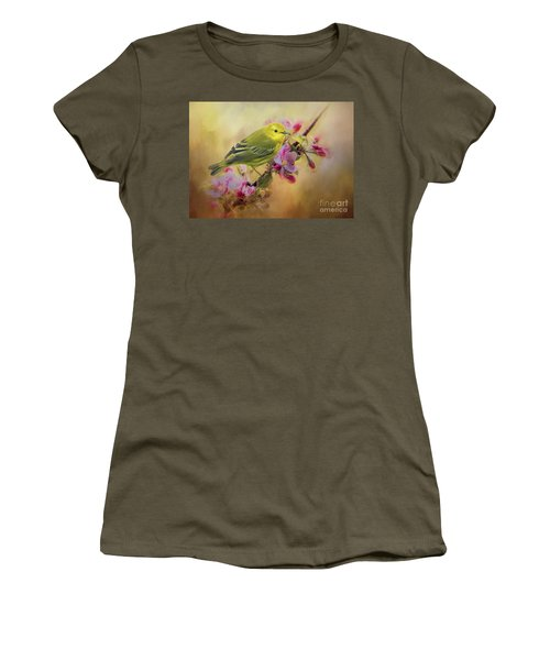 Yellow Warbler In The Flowers Women's T-Shirt (Athletic Fit)