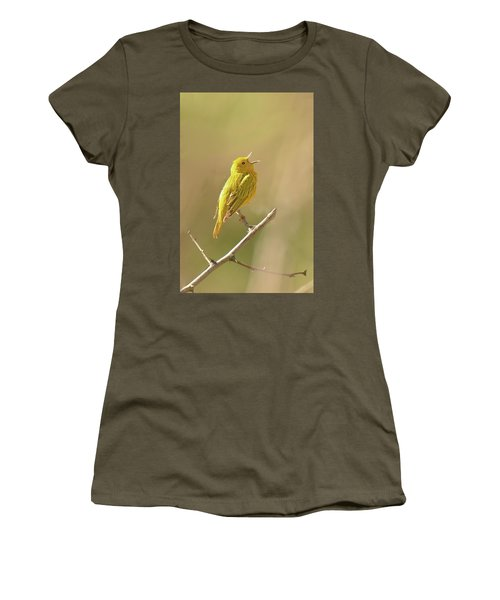 Yellow Warbler Song Women's T-Shirt (Junior Cut) by Alan Lenk