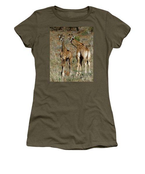 Young Giraffes Women's T-Shirt (Junior Cut) by Myrna Bradshaw
