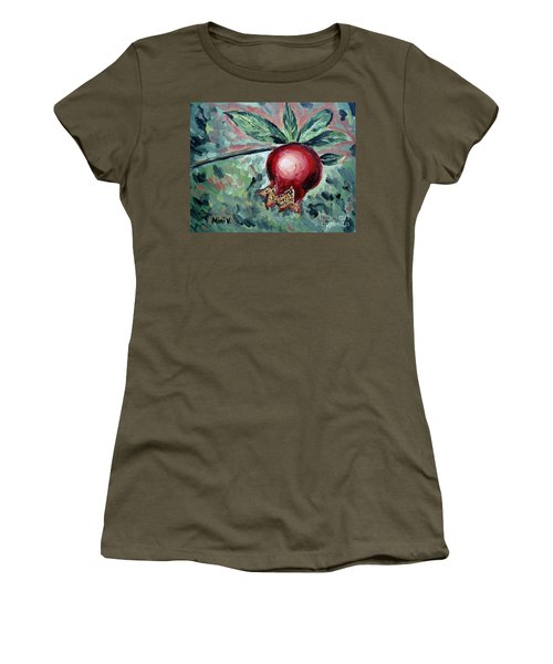 Women's T-Shirt featuring the painting Young Pomegranate by Maria Langgle