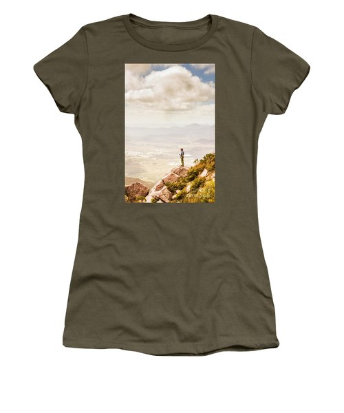 Young Traveler Looking At Mountain Landscape Women's T-Shirt