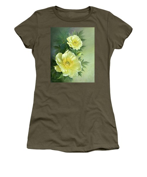 Women's T-Shirt (Junior Cut) featuring the digital art Yumi Itoh Peony by Thanh Thuy Nguyen