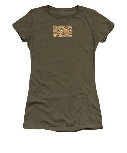 Women's T-Shirt (Junior Cut) featuring the pyrography Yury Bashkin Wall Budapesht Hyngary by Yury Bashkin