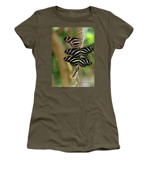 Zebra Butterflies Hanging On Women's T-Shirt
