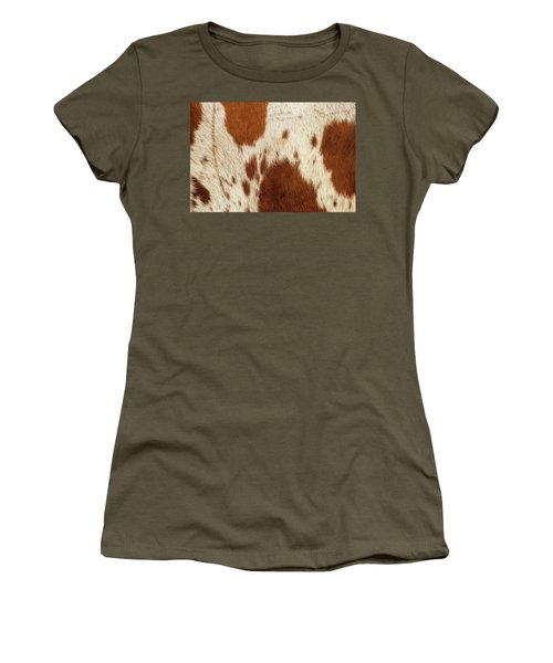Women's T-Shirt featuring the photograph Pattern Of A Longhorn Bull Cowhide. by Rob D Imagery