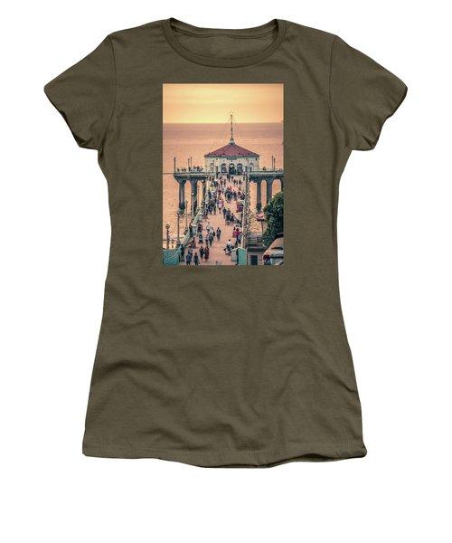 Women's T-Shirt featuring the photograph Sunset On Huntington Beach California by Alex Grichenko