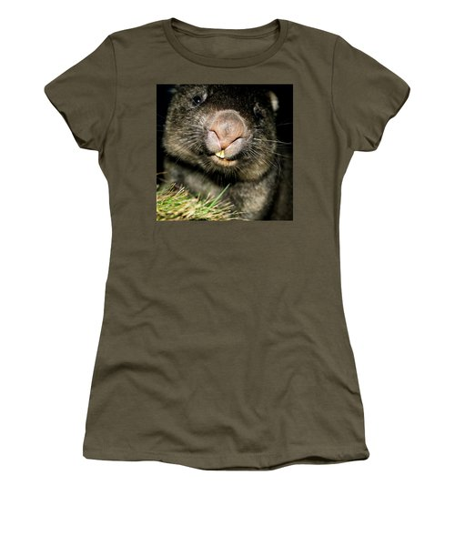 Women's T-Shirt featuring the photograph Wombat At Night by Rob D Imagery