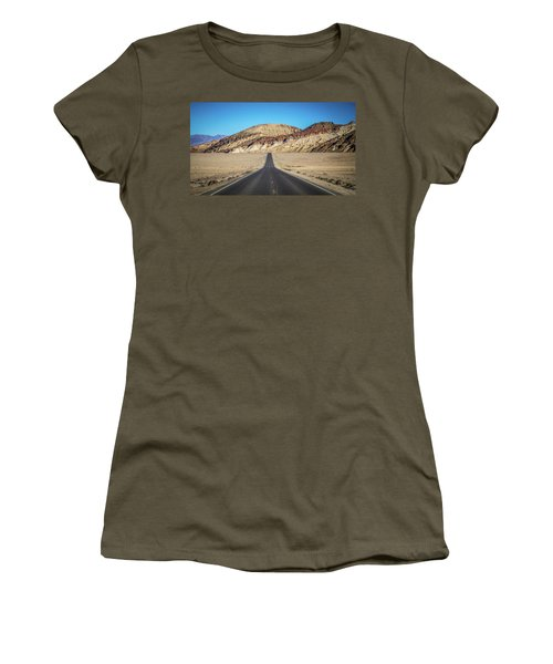 Women's T-Shirt featuring the photograph Lonely Road In Death Valley National Park In California by Alex Grichenko