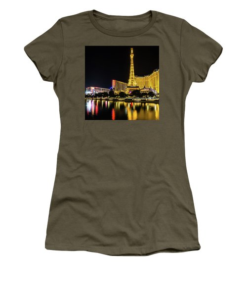 Women's T-Shirt featuring the photograph Nigh Life And City Skyline In Las Vegas Nevada by Alex Grichenko