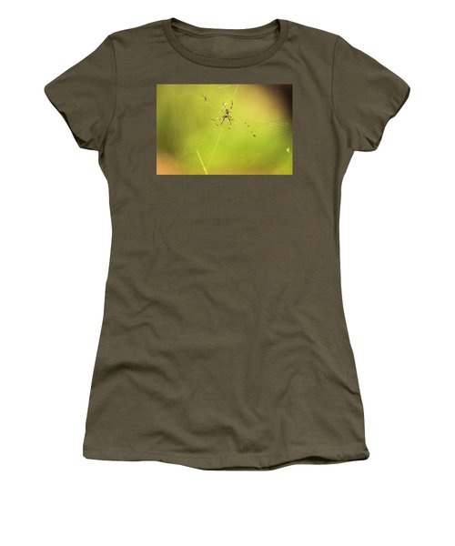 Women's T-Shirt featuring the photograph Golden Orb Spider. by Rob D Imagery