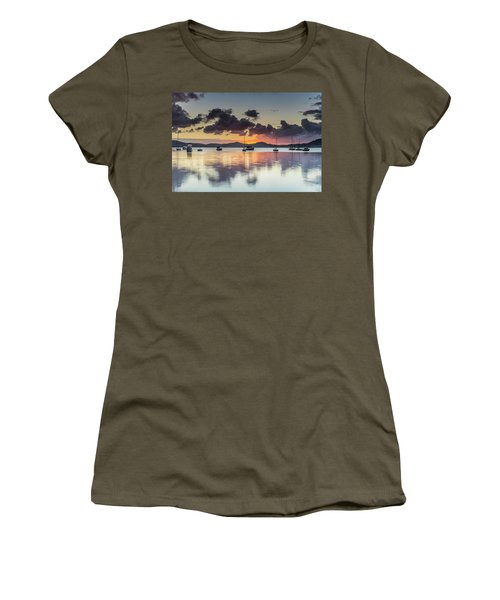 Overcast Morning On The Bay With Boats Women's T-Shirt