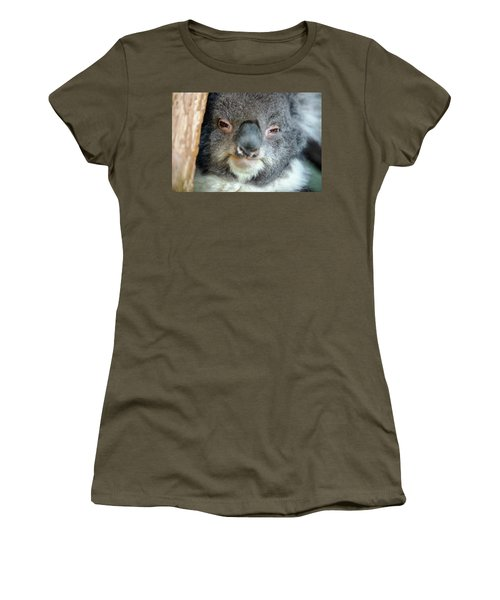Women's T-Shirt featuring the photograph Cute Australian Koala Resting During The Day. by Rob D Imagery