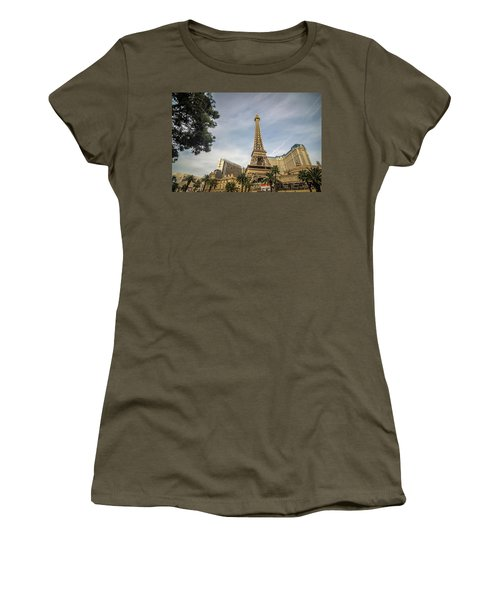 Women's T-Shirt featuring the photograph View On The Replica Of Eiffel Tower At Paris Hotel   by Alex Grichenko