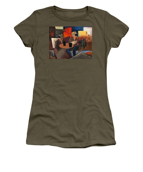 Women's T-Shirt featuring the painting 7073 Two Black Solutions by Val Byrne