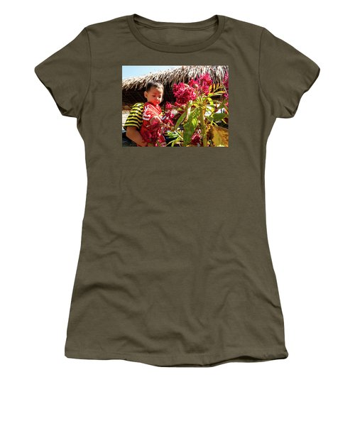 A Small Person With Reflected Flowers Women's T-Shirt
