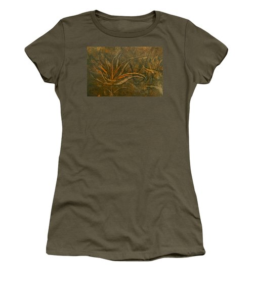 Abstract Brown/orange Floral In Encaustic Women's T-Shirt
