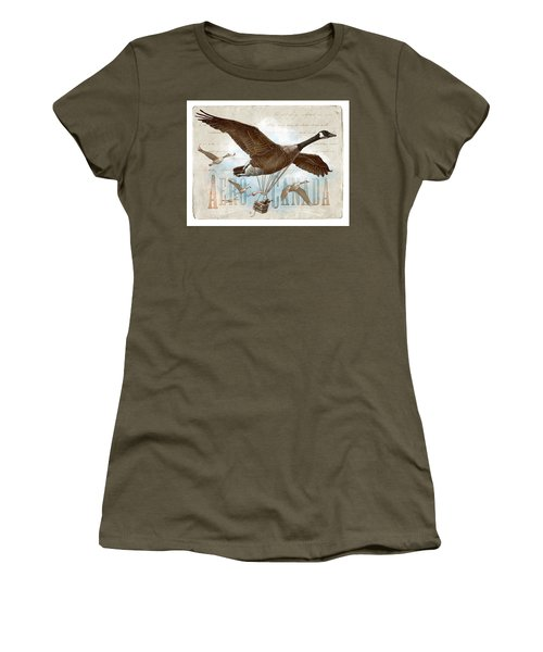 Women's T-Shirt featuring the drawing Aero Canada by Clint Hansen