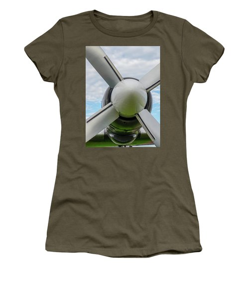 Women's T-Shirt featuring the photograph Aircraft Propellers. by Anjo Ten Kate