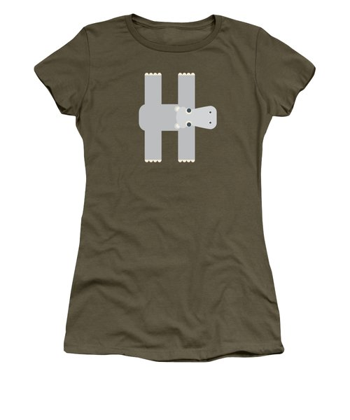 Animal Alphabet - Letter H - Hippo Monogram Women's T-Shirt